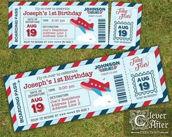 Plane Ticket Invitation Airplane Birthday Boarding Pass Invite