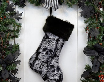 Goth Punk Black and White Shattered Skull Halloween Christmas Stocking, Black Faux Fur, Horror Fan, Canvas Liner
