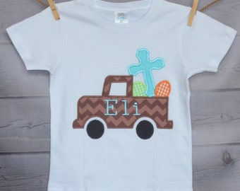 Personalized Easter Truck with Eggs and Cross Applique Shirt or Bodysuit Girl or Boy