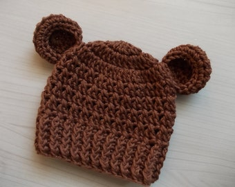 Baby bear hat Cotton baby hat Baby hat with ears Animal baby hat Brown baby hat Crochet newborn hat Newborn boy hat Baby bear beanie