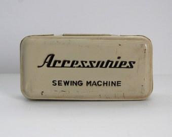 Vintage Sewing Tin, Sewing Accessories Off White Tin, Creamy, Chippy, Rusty, Cottage Chic