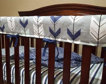 Baby Crib Rail Guard Cover - Gray Fletching Arrow and Navy