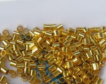 Gold Plated Crimp Bead Beadalon Tube 2 mm 100 pc 2mm Crimps #3 Size