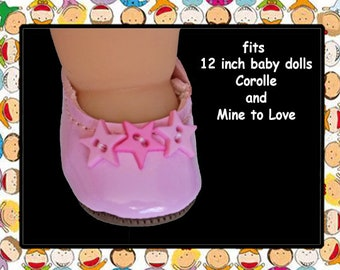 Vintage 1-5/8 inch x 1 inch  baby pink doll shoes / Shoes for 12 inch baby doll / Corolle Calin 12 inch