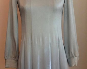 Vintage 1960's Glamorous Mod Silvery Blue Satin Micro Mini Dress with Bishop Sleeves/Twiggy