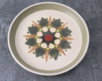 Vintage Denby Sherwood side plate | Made in England, hand painted, green hues