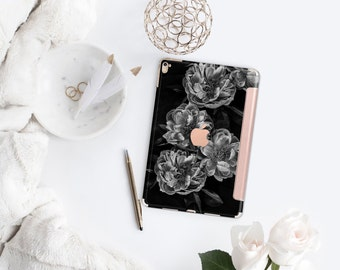 iPad Case . iPad Pro 10.5 . Black Rose with Rose Gold Smart Cover Hard Case for  iPad mini 4  iPad Pro  New iPad 9.7 2017