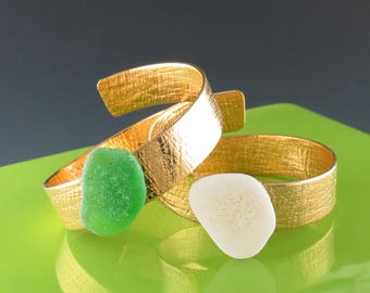 Brass and Sea Glass Napkin Rings - One Pair, Handmade