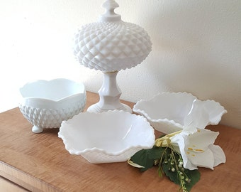 Vintage Milk Glass Compote Set of 4 White Glass Diamond Cut Compote with Lid and 3 Side Bowls by Indiana Glass Co