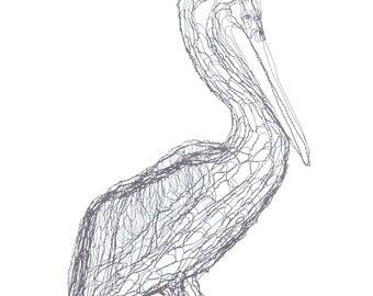 """Brown Pelican, 27"""" 3D Wire Sculpture by Elizabeth Berrien"""