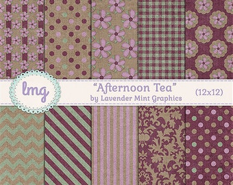 "Pink Digital Paper - ""Afternoon Tea"" - Shabby Chic, Vintage Floral Backgrounds, Junk Journal, Vintage Journal Paper, Instant Download, CU"