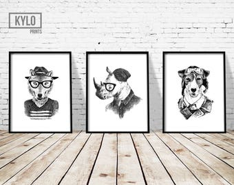 "Funny Animal Print Set 3 of 8x10"", Hipster Animal Art, Wolf, Rhino, Puppy Dog Print, Hand Drawn Illustration, Nursery Decor, Home Wall Art"