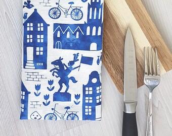 Holland blue Kitchen Tea towel watercolor delft royal blue white, linen cotton / theedoek - design by Heleen van den Thillart