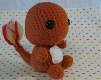 Crochet Pokemon Inspired Orange Charmander Tail on Fire Small Inexpensive Stuffed Toy Birthday Gift or Christmas Present with Free Shipping