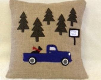 Tree Farm Truck/Lab Rustic Pillow Cover