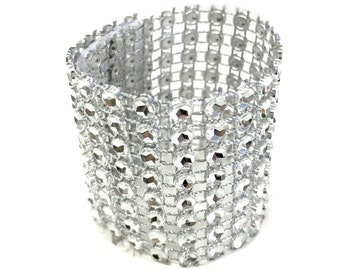 Silver Rhinestone Napkin Rings Holder, 2-1/2-Inch, 40-Piece
