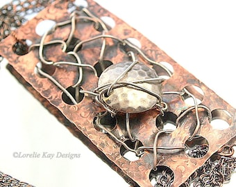 Edgy Organic Copper Necklace Hand Forged Industrial Wire & Metal Statement Necklace Metal Metalwork
