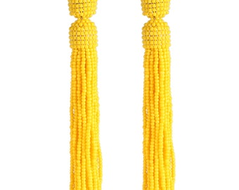 Yellow tassel earrings, beaded tassel earrings in Oscar de La Renta style, orange tassel beaded earrings, oscar de la renta tassel earrings