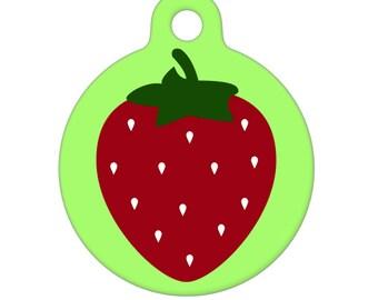 Pet ID Tag - Strawberry Pet Tag, Dog Tag, Cat Tag