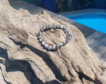 Gray and black marble bead bracelet