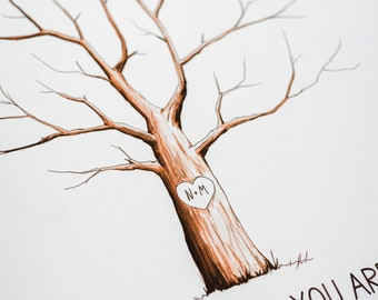 Fingerprint Tree custom wedding guestbook - Original thumbprint guest book alternative (Small Size Watercolor) includes 1 ink pad!!