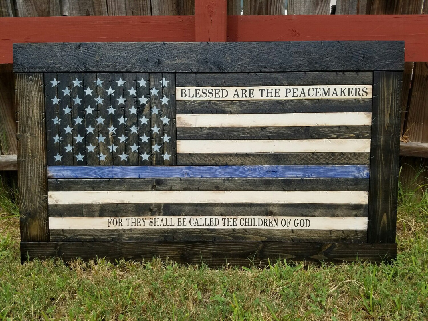 Framed Thin Blue/Red Line American Flag with Blessed Are The ...