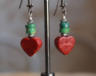Heart sponge coral and turquoise earrings