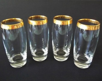 Crystal Highball Glasses, Home Essentials Imperial Gold Rim, Set of 4, 1980s