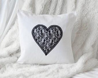 Lace Heart Appliqué Pillow Cover - Fits 16 x16