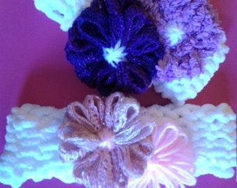 White Knitted Headband with 2 Flowers
