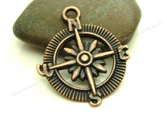 Bulk 12 Compass Charms or Pendants Antique Copper Tone - 25mm - BC11