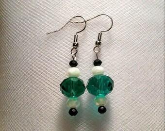 Philadelphia Eagles NFL football team color glass bead earrings