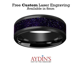 Black Ceramic Ring - Purple Goldstone Inlay - Ceramic Wedding Band - Beveled - Polished Finish - 8mm - Ceramic Wedding Ring