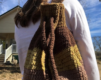 Crochet Drawstring Bohemian Style  Bag