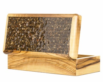 Unique Olive Wood Box 17.5 cm with Natural Jerusalem Small Stones from City of David Period of King David 1000BCE