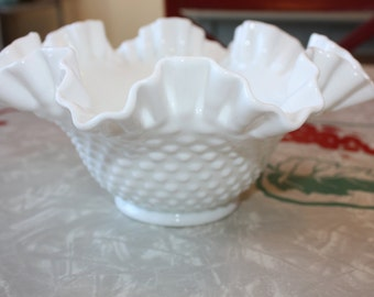 Vintage Fenton Milk Glass Hobnail Bowl with Ruffled Neck, Gift, Wedding