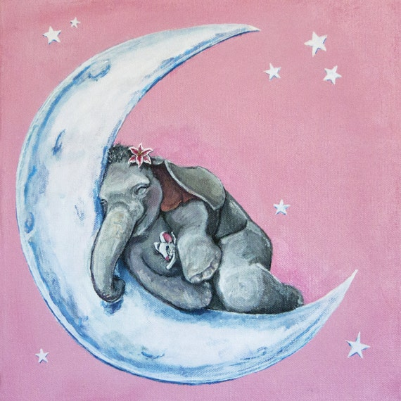 Cute Whimsical Sleeping Baby Elephant Mouse Stargazer Lily