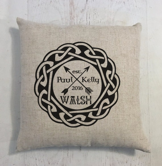Arrows and Heart Irish Celtic Wedding Ring Heart Custom Last Name Linen Style Pillow Wedding or Anniversary Gift