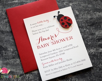 Ladybug Baby Shower Invitations · A2 FLAT · Red and Black · Little Lady Baby Shower | Spring | Birthday Party