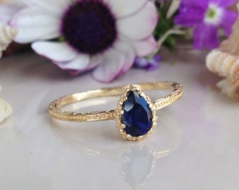 20% off- SALE!! Blue Sapphire ring - Slim Ring - Hammered Ring - September Birthstone - Tiny Ring - Simple Ring - Teardrop Ring - Bezel Ring