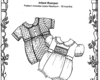 Infant Romper / Smocked Romper / Inset / Boys and Girls / Snap Crotch / Peter Pan Collar / Puffed or Cuffed sleeves / Primrose Lane  / 20