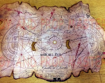 The Goonies One Eyed Willie's Accurately Folding Pirates Treasure Map replica paper prop Chunk Sloth Astoria, Oregon Cannon Beach Mikey