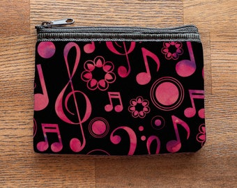 Music Notes and Clefs Neoprene Coin Purse or Zipper Pouch - Pink and Black