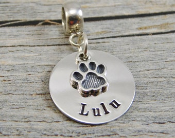 Hand Stamped Jewelry - Personalized Pet Jewelry - Charm For Bracelet - Sterling Silver - Paw Print Charm - Lobster Clasp or Slider Bail