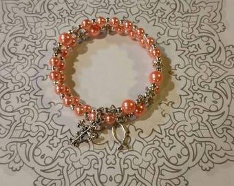Anglican prayer bead bracelet, religious, memory wire bracelet, silver tone, peach glass pearls, wrap bracelet, Protestant prayer bracelet