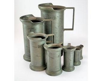 Rare- Antique Peltrato  Italian Pewter Measuring Cups- Tin Tankards - Vintage Pewter Jugs - Pewter Tankard Set-Italian Antique Tin Jugs