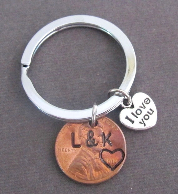 Penny Keychain I Love you Initials Year Keyring His/Hers Keyring Lucky Penny Anniversary Gift,Boyfriend Girlfriend Gift, Free Shipping USA