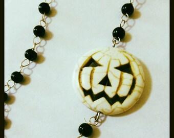 Jack-O-Lantern Rosary Necklace, Carved Howlite, Asymetrical Pumpkin Rosary