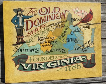 Virginia State Sign, Vintage look hand painted and lettered decor, Old Dominion, VA with Cardinal, Home Decor. Family Room Historic Va State