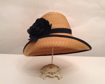 Natural Straw Hat--Grosgrain Trim